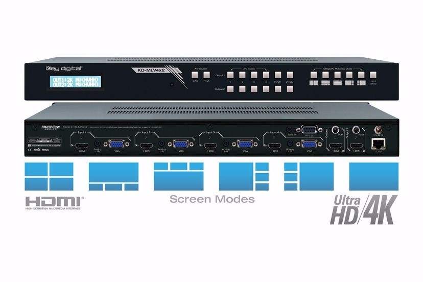 Key Digital® - KD-MLV4x2 Multiview Switcher